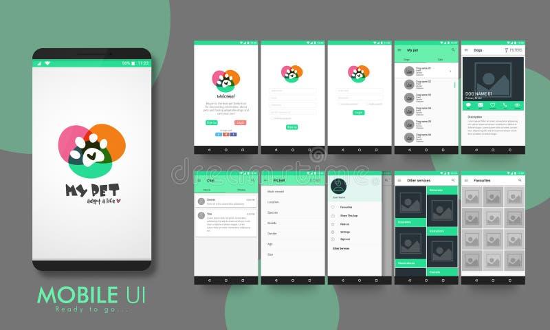 流动阿普斯的物质设计UI、UX和GUI 向量例证