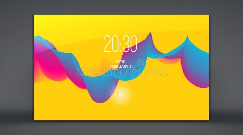 流动阿普斯的现代锁屏幕 与时髦梯度的抽象背景 能为做广告,营销使用, 皇族释放例证