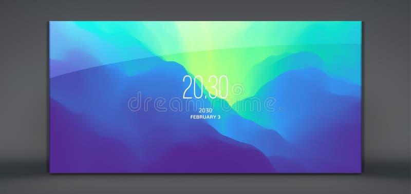 流动阿普斯的现代锁屏幕 与时髦梯度的抽象背景 能为做广告,营销使用, 库存例证