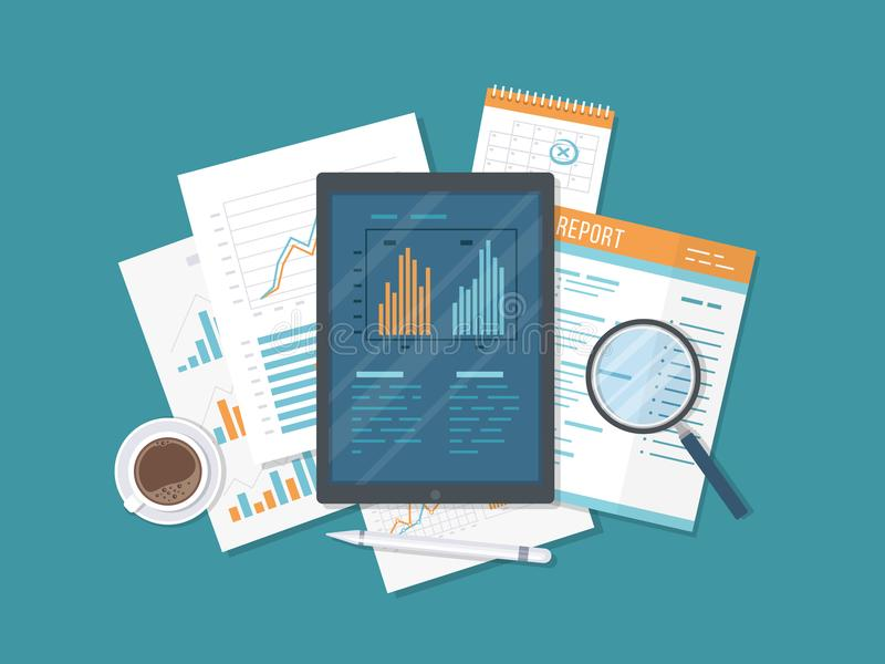 流动验核,数据分析,统计,研究 有信息的关于屏幕,文件,报告片剂 图表生长 向量例证