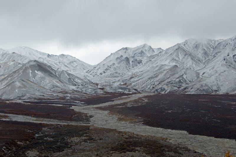 流动从山的阿拉斯加的河 免版税库存图片