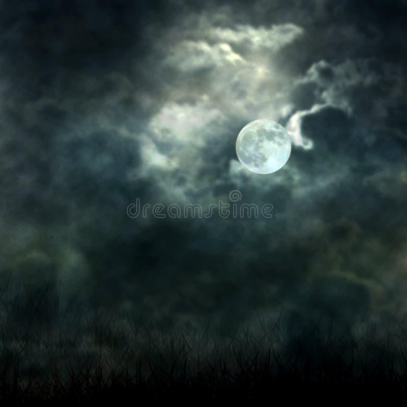 流动从黑暗的天空的神秘的月光 免版税图库摄影