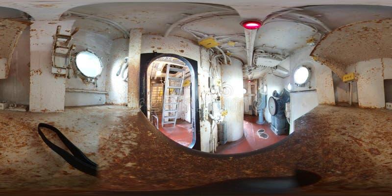 流动- 5月12日:USS阿拉巴马军舰BB-60,在桥梁视图里面的360个VR这南达科他-把战舰分类,是Mus 库存图片