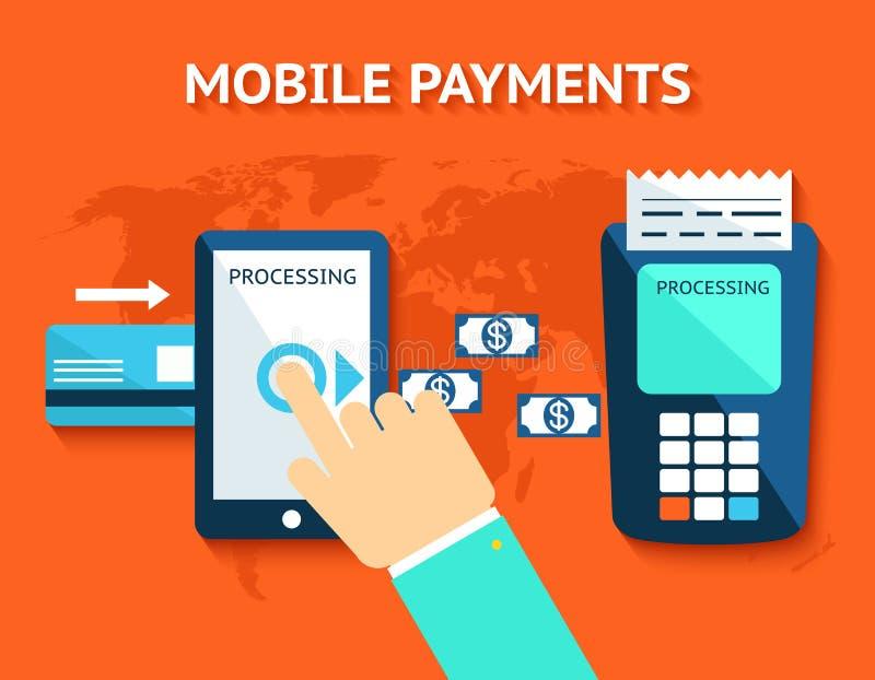 流动付款和近的领域通信, NFC 库存例证
