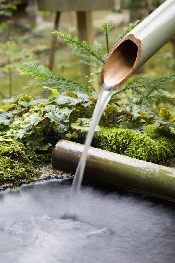 流动从竹管子的水 库存照片