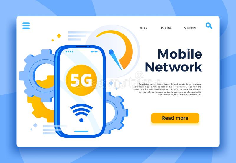流动5G网络着陆页 通信系统、多孔的连接和快速的互联网智能手机传染媒介的 库存例证