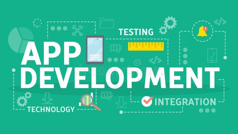 流动app发展概念 现代技术和智能手机 向量例证
