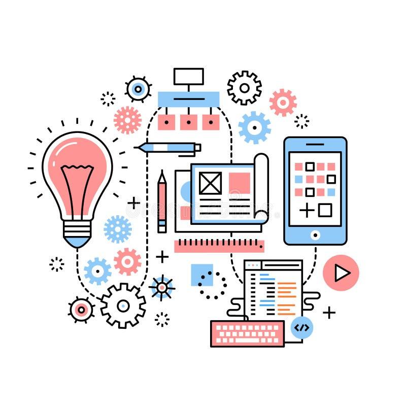 流动app发展过程概念 库存例证