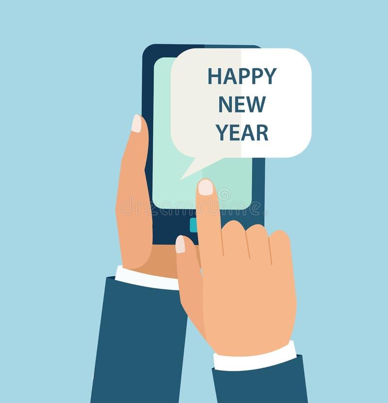 流动app的新年概念 皇族释放例证