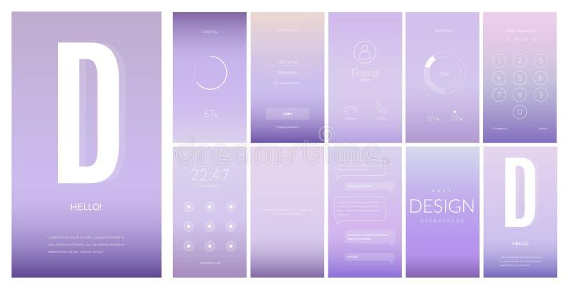 流动app的现代UI屏幕设计与网象 皇族释放例证