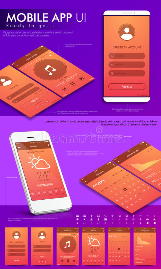 流动App的UI、UX和GUI模板 库存例证