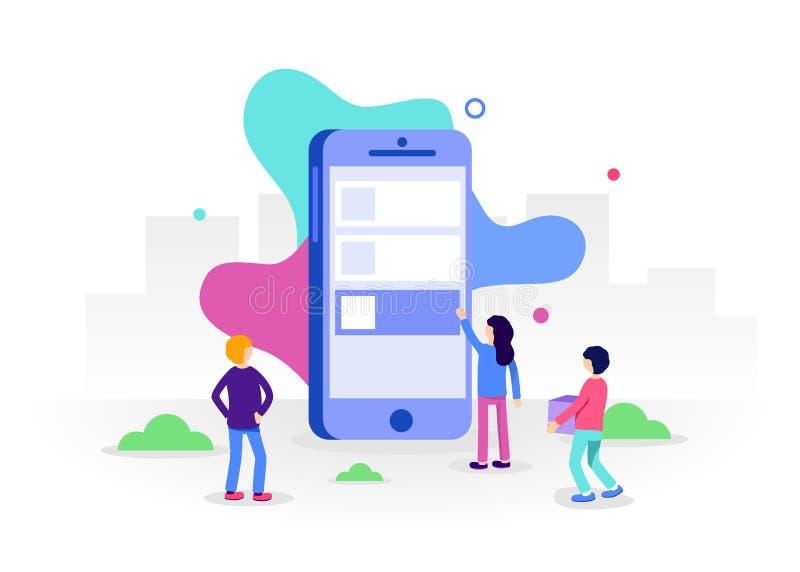 流动apps概念的发展 小人字符在大智能手机附近站立并且开发流动apps 时髦平的样式 皇族释放例证