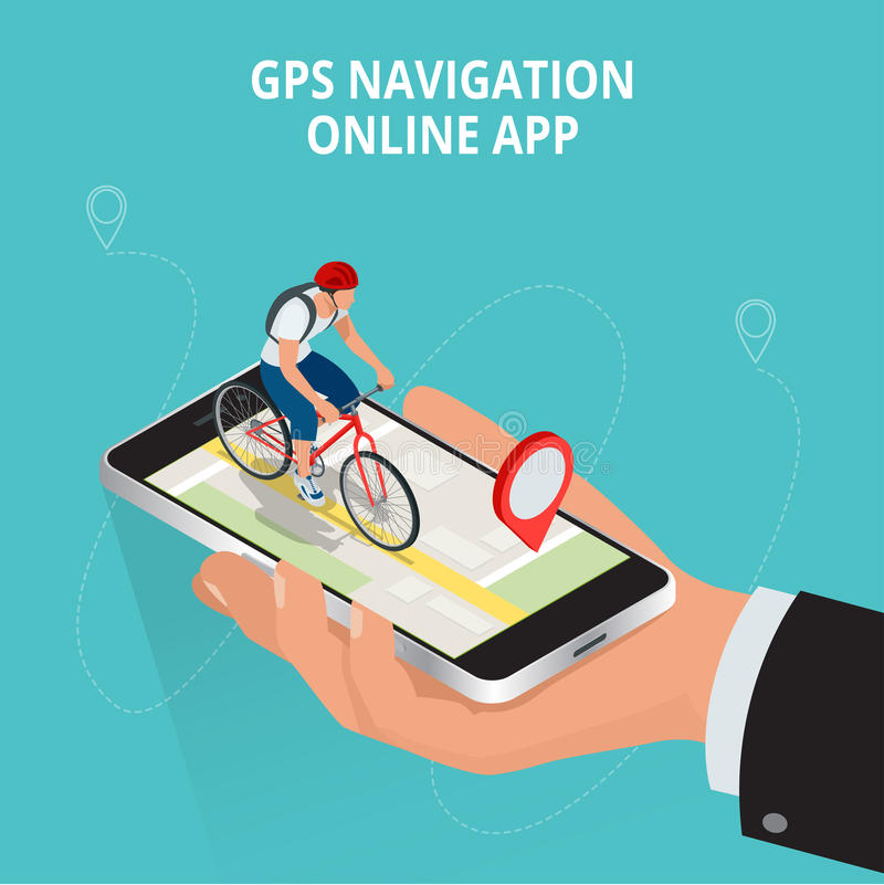 流动GPS航海、旅行和旅游业概念 观看在手机的一张地图在自行车和查寻GPS座标 皇族释放例证