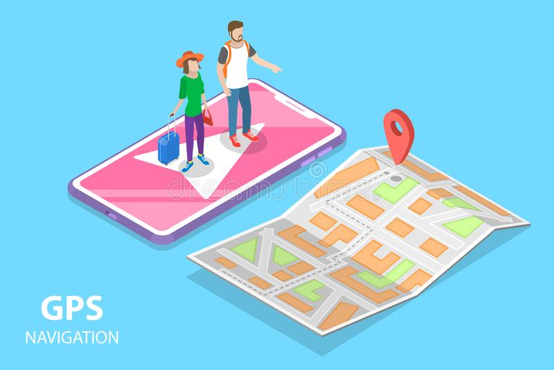 流动pgs航海,城市地图的等量平的传染媒介概念 库存例证