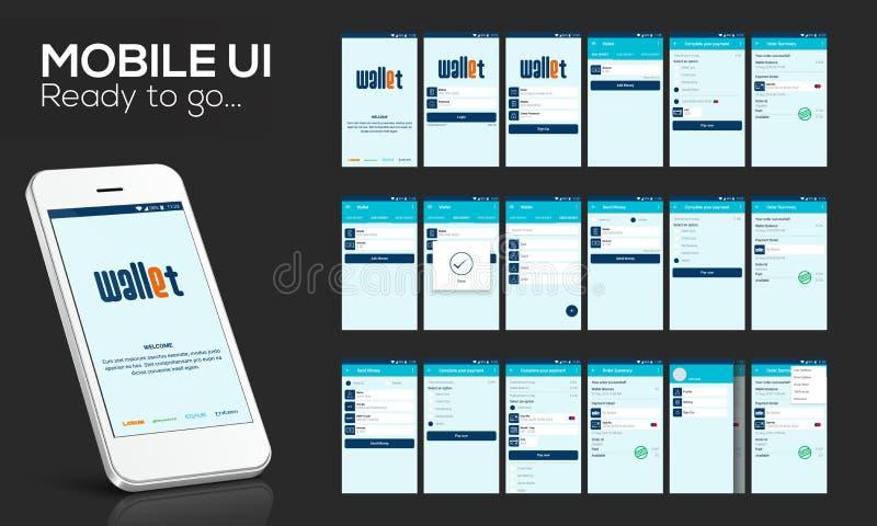 流动UI、UX和GUI网上汇款的 库存例证