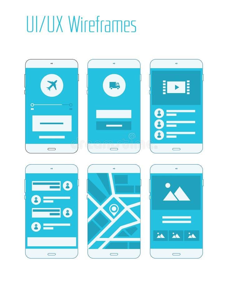流动UI和UX Wireframes成套工具 库存例证