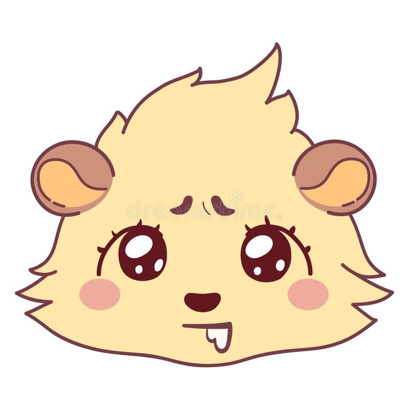 流口水滑稽的豚鼠,饥饿的女孩意思号-流口水的面孔Emoji 向量例证
