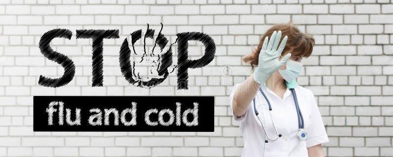 流感和冷的中止概念 与文本的照片 免版税图库摄影