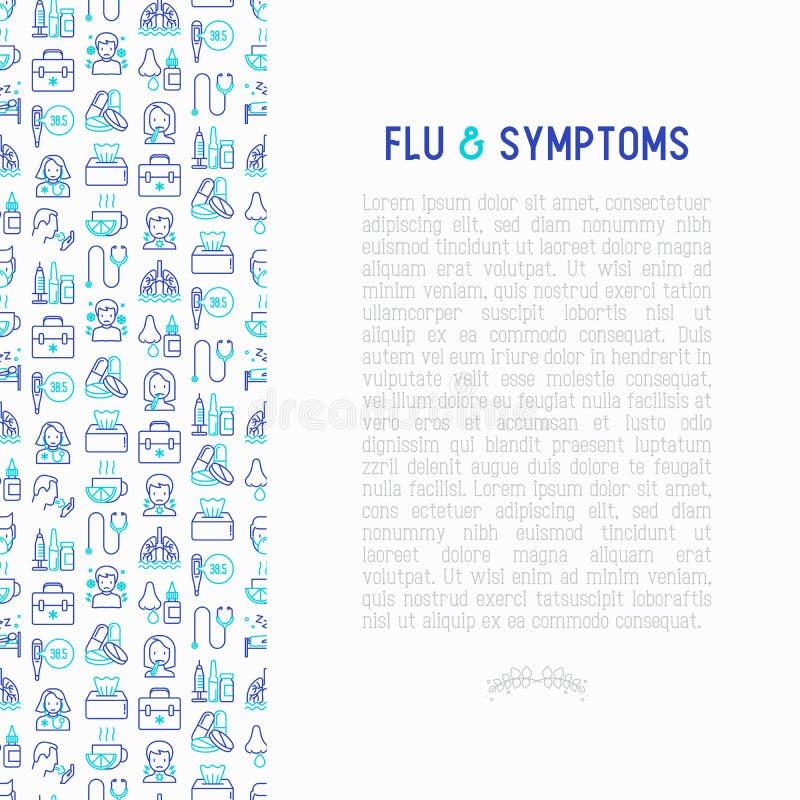 流感和症状概念稀薄的线象 向量例证