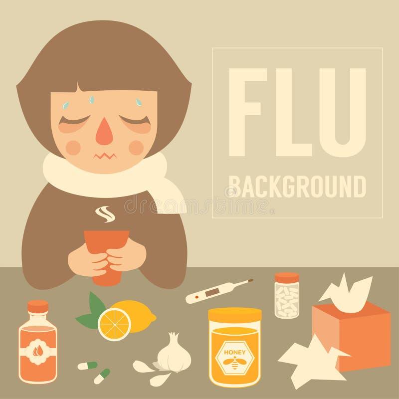 流感症状 皇族释放例证