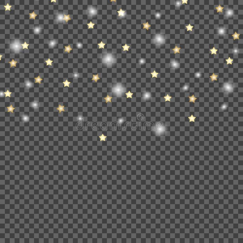 流星简单设计在黑暗,透明被隔绝的背景的 传染媒介例证模板 向量例证