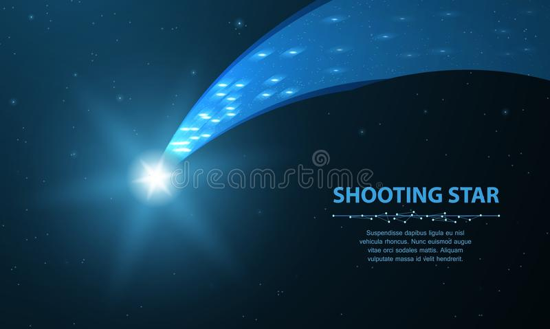 流星 与焕发的落的彗星在与小点和星的深蓝背景 皇族释放例证