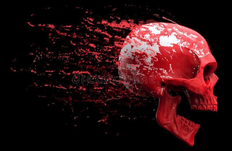 流洒红色皮肤的叫喊的红色头骨 库存例证