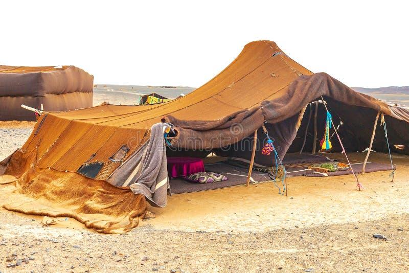 流浪的帐篷在撒哈拉大沙漠,摩洛哥 图库摄影