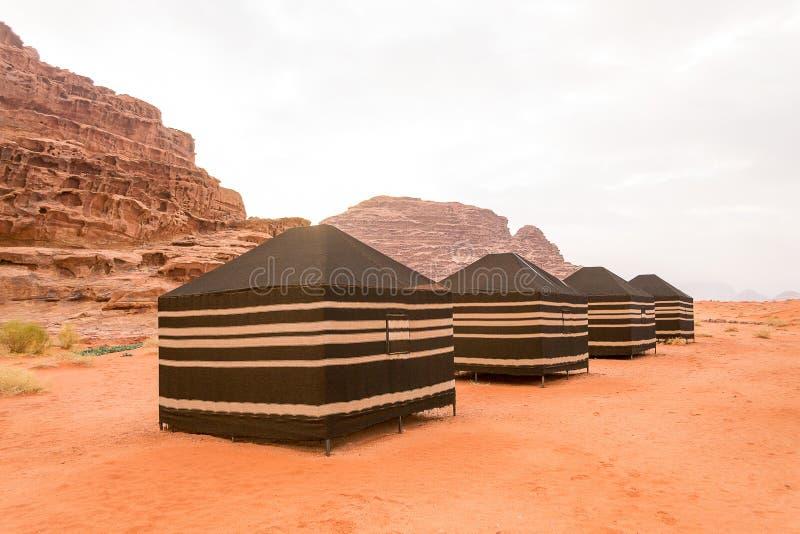 流浪的帐篷,瓦地伦沙漠,约旦 图库摄影