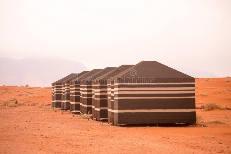 流浪的帐篷,瓦地伦沙漠,约旦 免版税库存照片