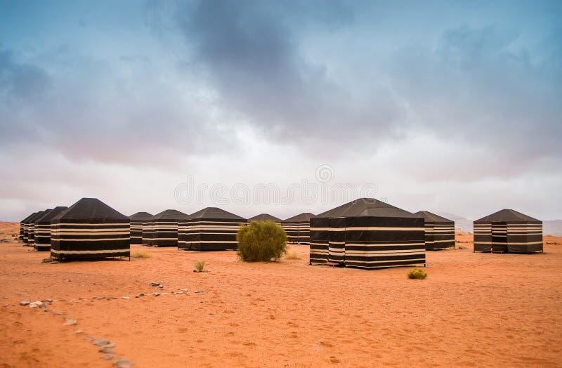 流浪的帐篷,瓦地伦沙漠,约旦 免版税图库摄影