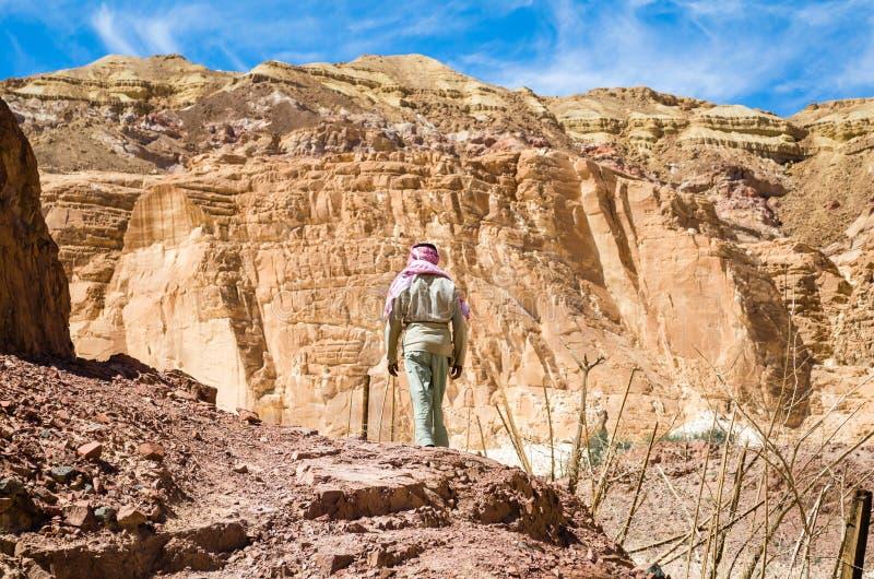 流浪者在埃及宰海卜南西奈攀登一座山 免版税图库摄影