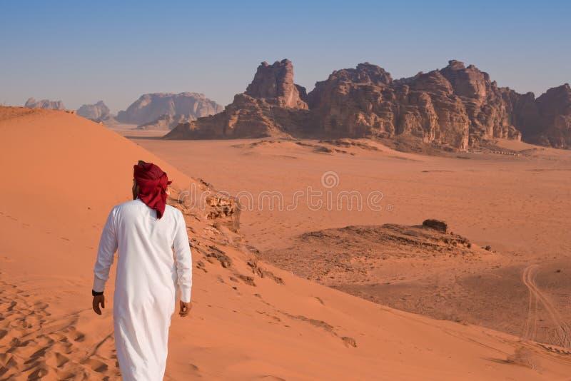 流浪者-沙漠在早晨-约旦 免版税库存图片