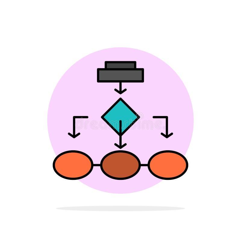 流程图、算法、业务、数据架构、方案、结构、工作流抽象圆背景平面颜色图标 向量例证