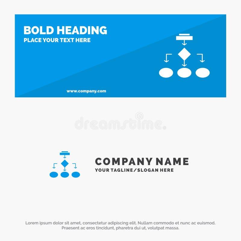 流程图、算法、业务、数据架构、方案、结构、工作流SOlid图标网站横幅和业务徽标 皇族释放例证
