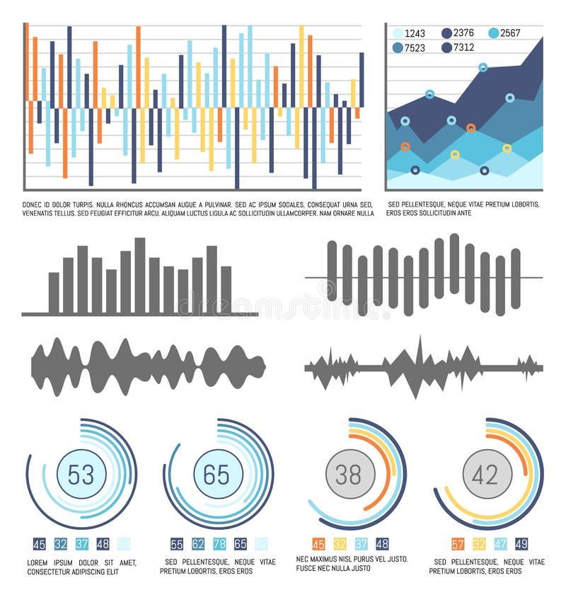 流程图和Infographics与数据视觉信息 向量例证