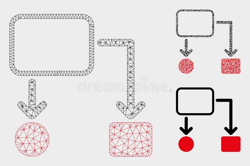 流程图计划传染媒介网状网络模型和三角马赛克象 库存例证