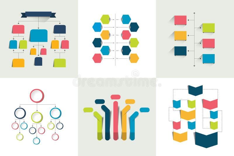 流程图 套6流程图策划,用图解法表示 编辑可能的颜色 向量例证