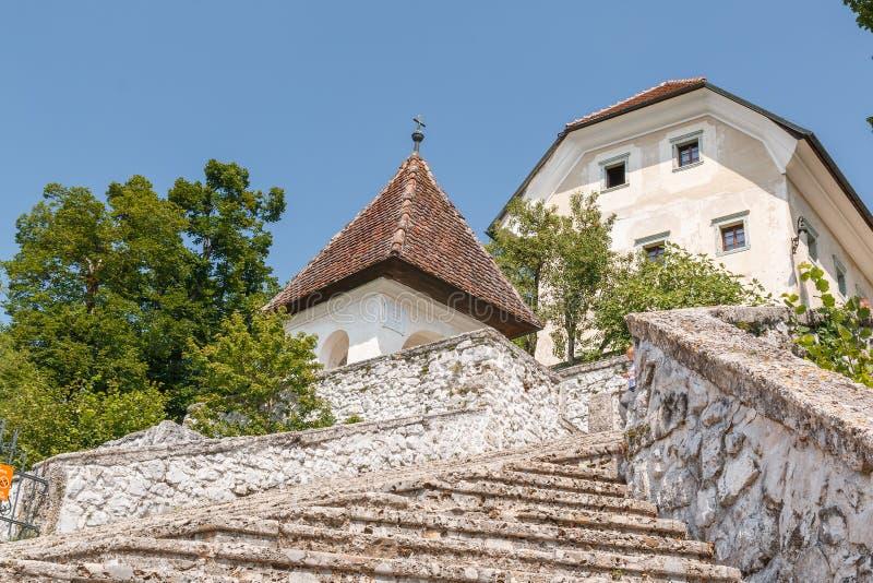 流血的湖的,斯洛文尼亚白色教会 免版税库存照片
