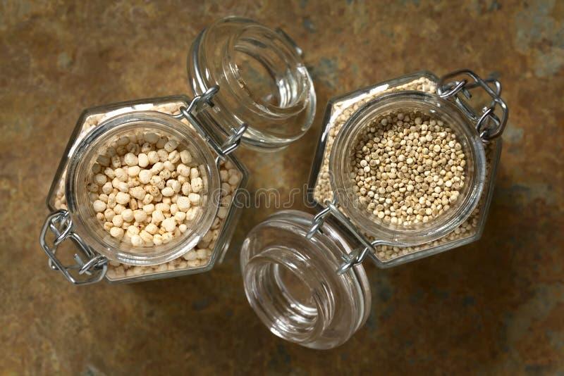 流行的奎奴亚藜谷物和奎奴亚藜五谷 库存照片