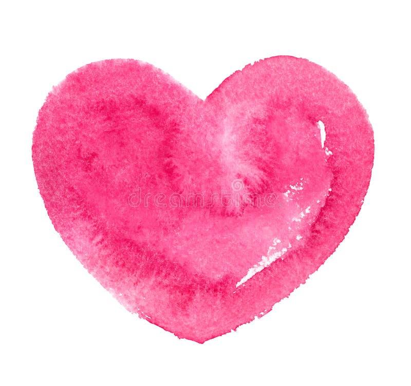 流行粉红水彩心脏剪影,情人节模板 向量例证