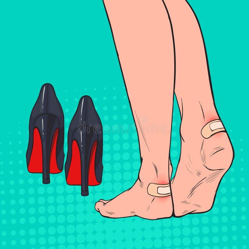 流行艺术与补丁的妇女脚在脚腕在穿高跟鞋鞋子以后 在腿皮肤的膏药黏着性绷带 库存例证