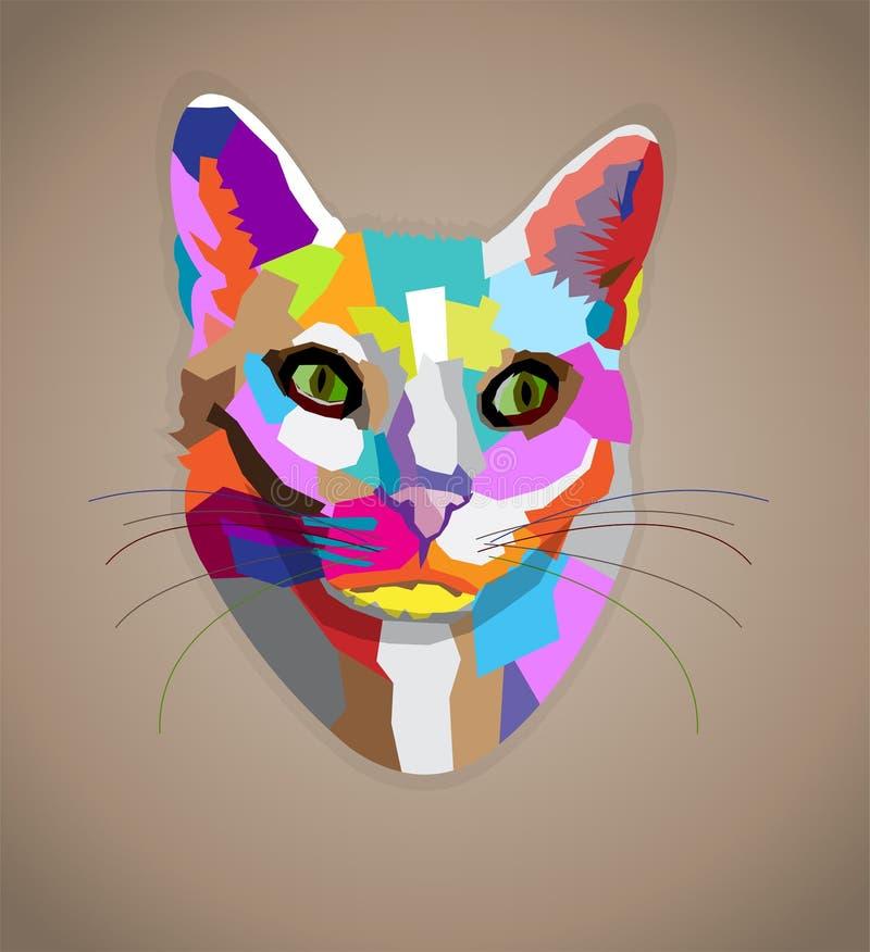 流行艺术五颜六色的猫。 免版税库存图片