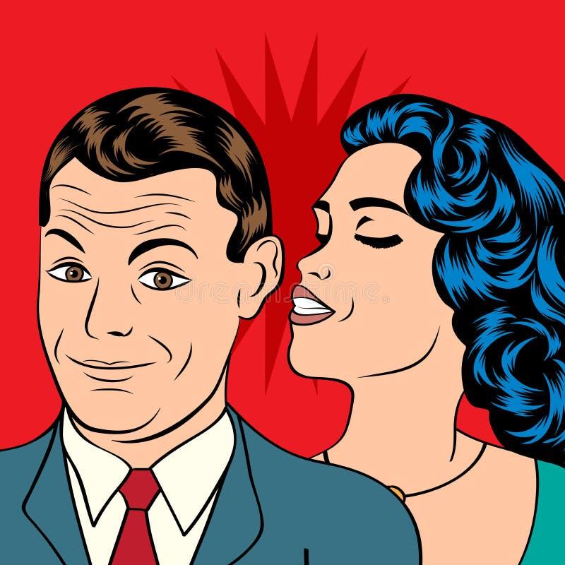 流行艺术亲吻的夫妇 皇族释放例证