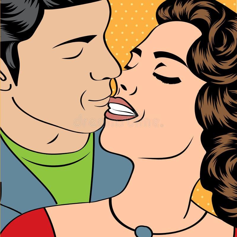 流行艺术亲吻的夫妇 库存例证
