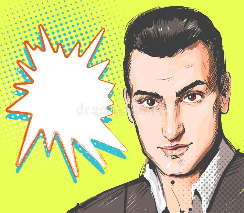 流行艺术人 年轻帅哥画象 在减速火箭的可笑的样式的传染媒介例证 传染媒介流行艺术背景 向量例证