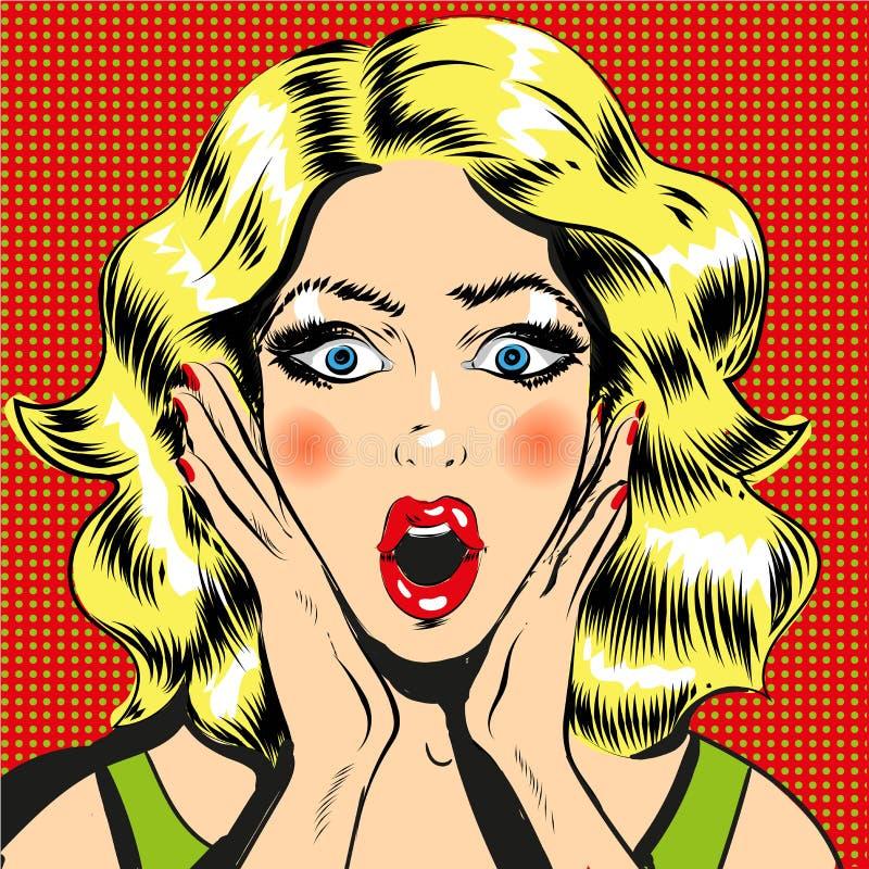 流行艺术使与开放嘴可笑的样式例证的妇女面孔惊奇 向量例证