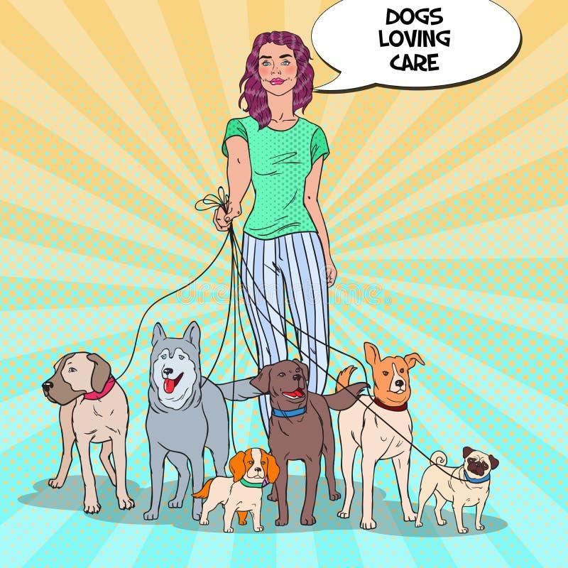 流行艺术俏丽的妇女狗步行者 向量例证