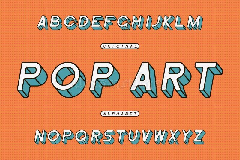 流行艺术倾斜的字体 减速火箭的Sans Serif字母表 风格化被环绕的被构筑的字体 向量 皇族释放例证