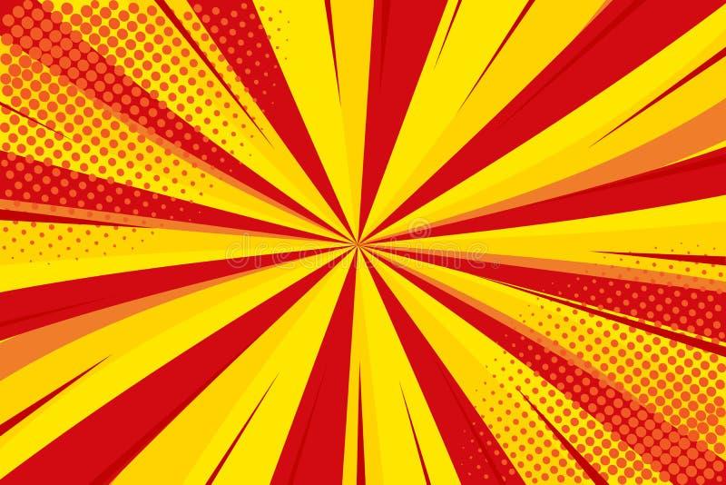 流行艺术减速火箭可笑 黄色红色背景 闪电疾风中间影调小点 动画片背景,超级英雄 向量 库存例证